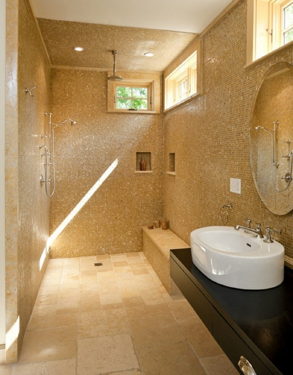 Spacious open shower