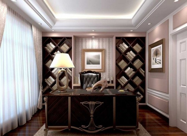Contemporary study with elegant furniture
