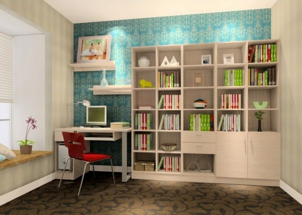 Study rooms design and d cor tips for small and large for Study room design ideas blue