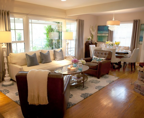 Family room design and d cor traditional and contemporary for Decorating ideas for living room dining room combo