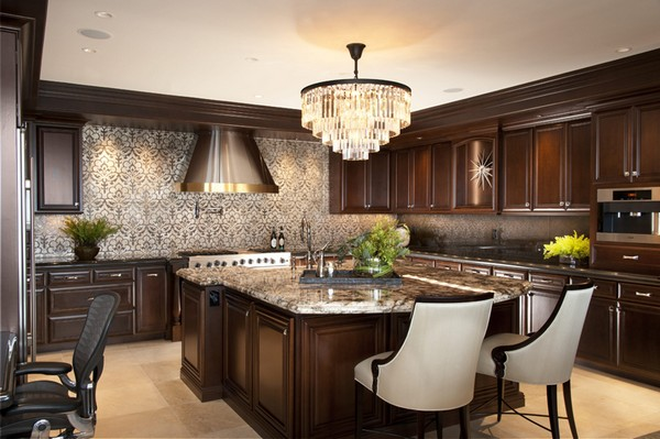 Crystal garland chandelier and beautiful wallpaper