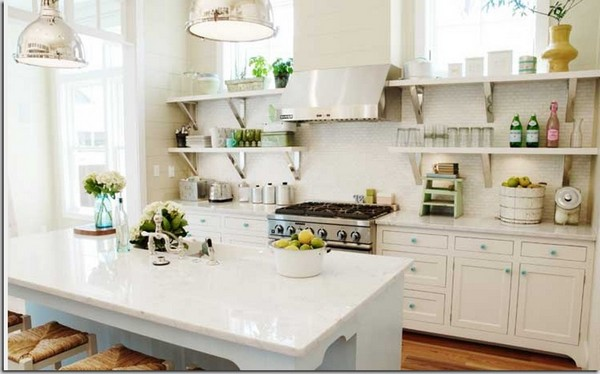 White Shelves In An All White Kitchen