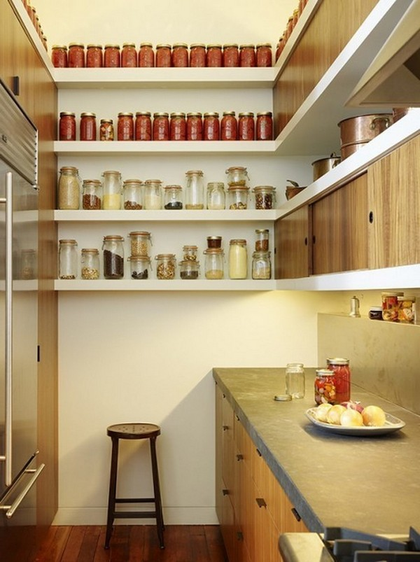 Open shelves used to store cooking ingredients and pans
