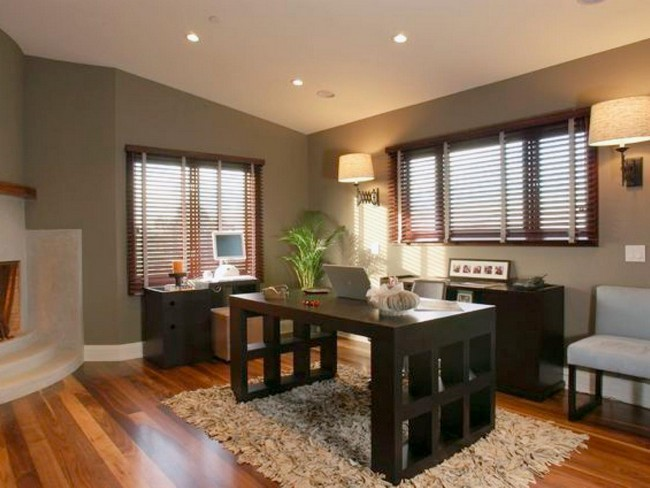 this article gives you tips on the best decor options for a small home office this office also uses storage cabinets with in built lighting and glass doors