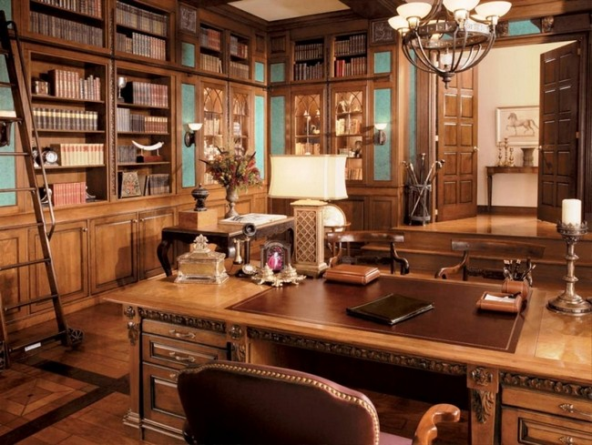 Large rustic-style home office that also acts as a home library