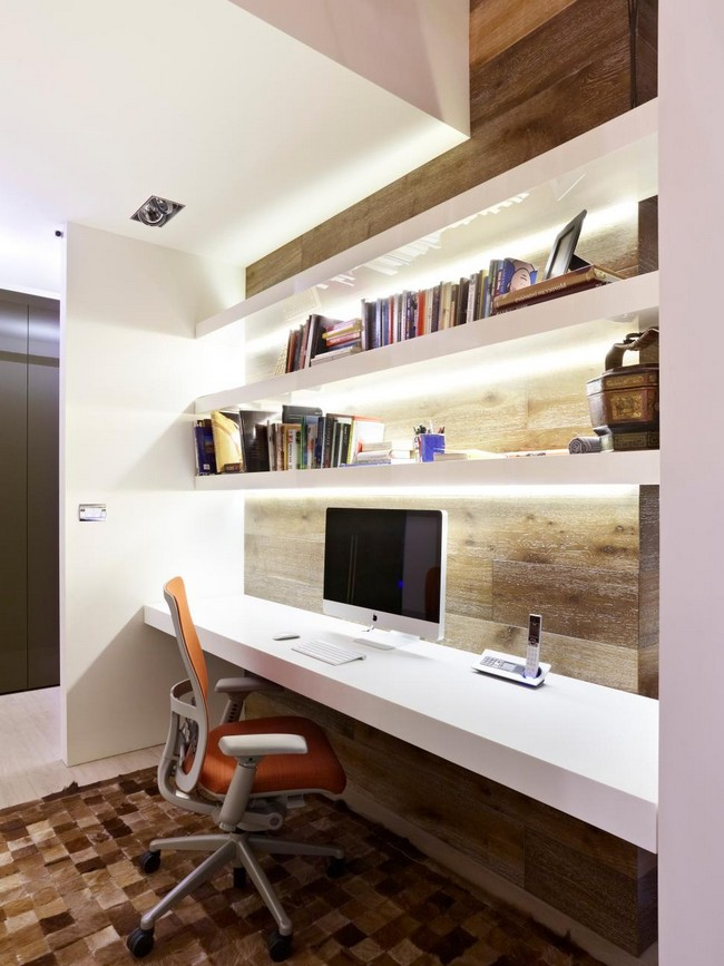 Small and simple home office at the corner of the room