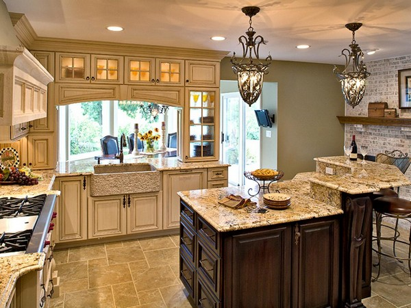 Kitchen with a wide variety of lighting sources
