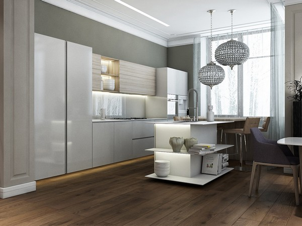 Contemporary minimalist kitchen with open shelving