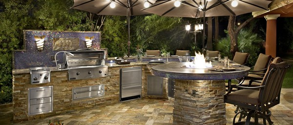 Blend of an indoor and outdoor kitchen