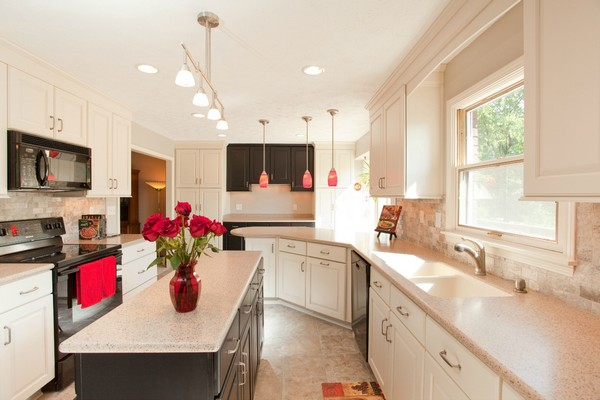 Bright red flowers and red pendant lights