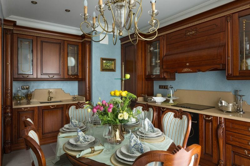 Kitchen set in classical style with patina and gilding