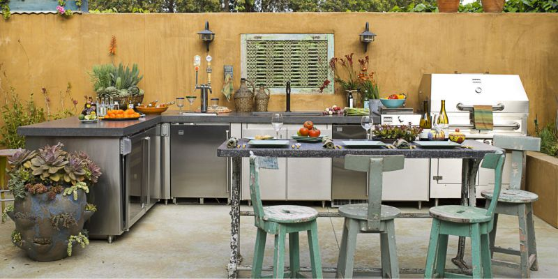 If Your Summer Kitchen Is Only A One Row Layout, Then Make It More  Convenient By Adding A Compact Mobile Island / Peninsula.