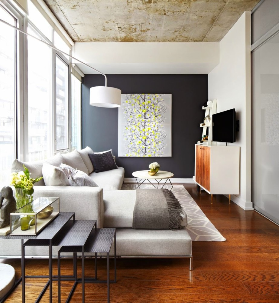 Rough Textures Such As Natural Stone Concrete Or Brick Will Visibly Enliven The Gray Room So You Are Free To Use Them Generously